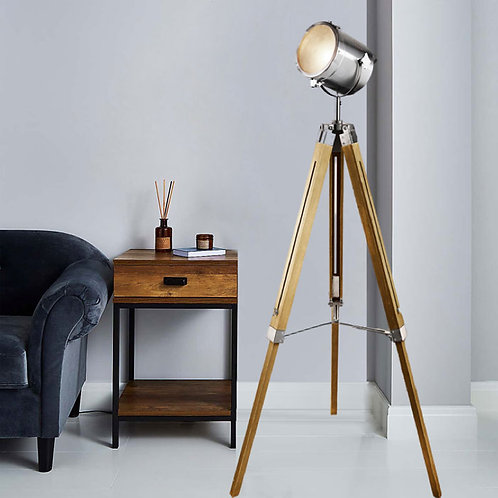 Wooden and Chrome Easel Floor Lamp