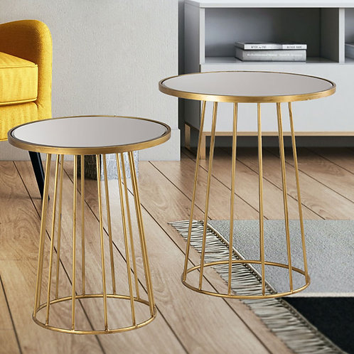 Set of Round Gold Mirrored Side Tables