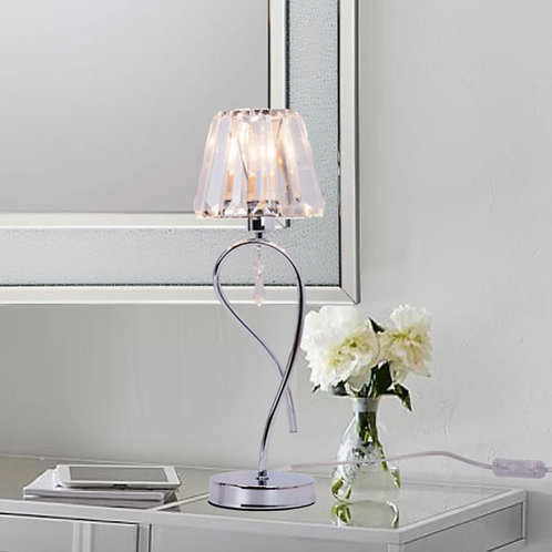 Single Polished Chrome Table Lamp with Crystal Shade