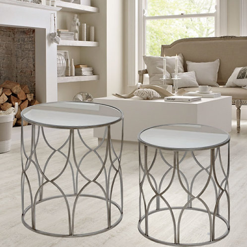 Ornate Circular Silver Side Tables