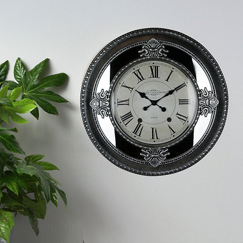 Victorian Inspired Mirrored Wall Clock