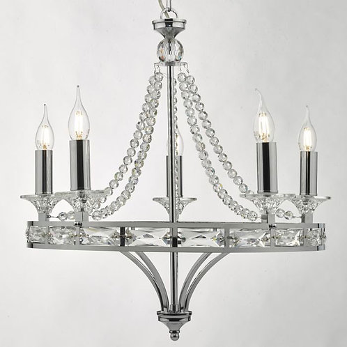 5-Light Chandelier with Polished Chrome and Crystal