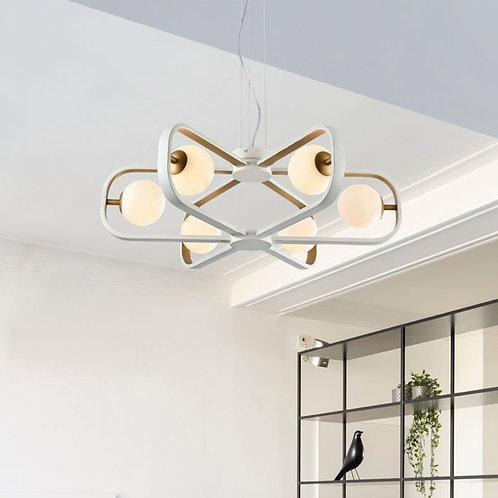 Modern 6-Light White and Gold Pendant