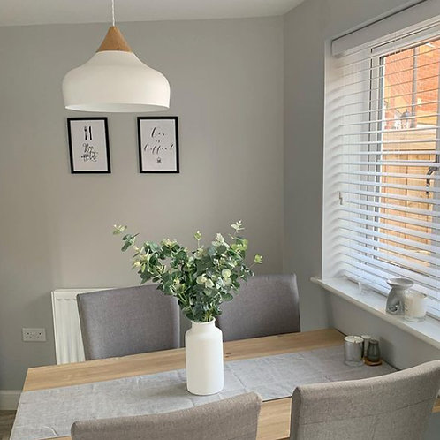 Metal Pendant in Gloss White with Wooden Feature