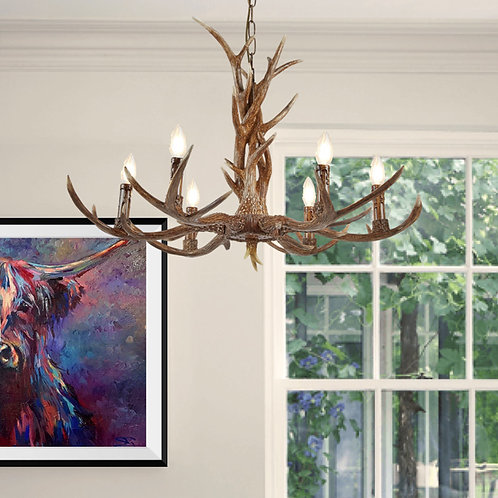6 Light Wooden Antler Style Ceiling Fitting