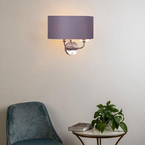 Polished Nickel 2-Wall Light with Grey Shade