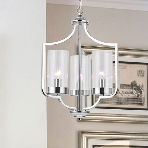 Polished Chrome Pendant with 3 Glass Candle Shades