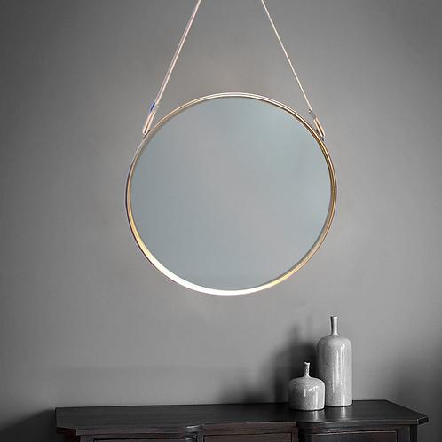 Brass Circular Wall Mirror with Strap