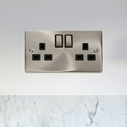 2 Gang Switched Socket Outlet in Satin Chrome