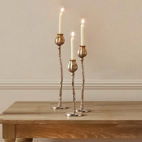 Set of 3 Flower Candlestick Holders