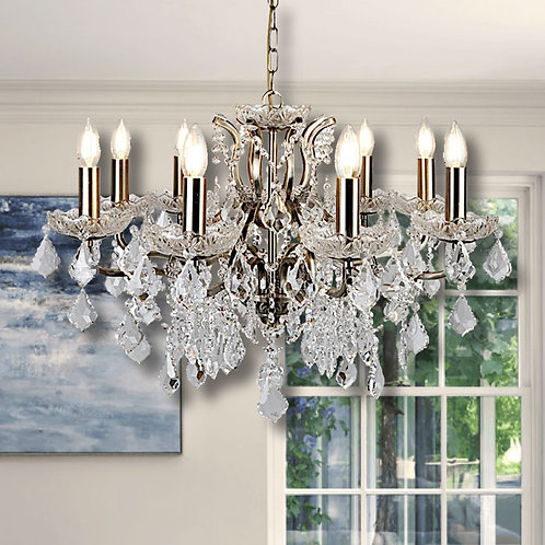 8 Light Chandelier in Antique Brass Finish With Clear Crystal Drops