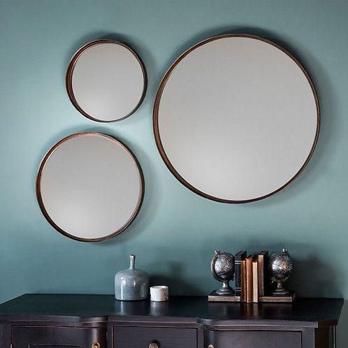 Aged Bronze Round Wall Mirrors