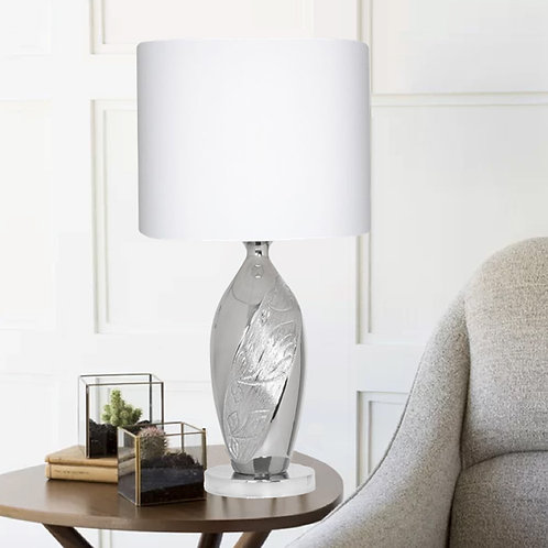 Modern Chrome Table Lamp with Leaf Pattern