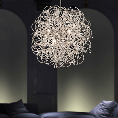 Spiralling Polished Chrome Ceiling Pendant
