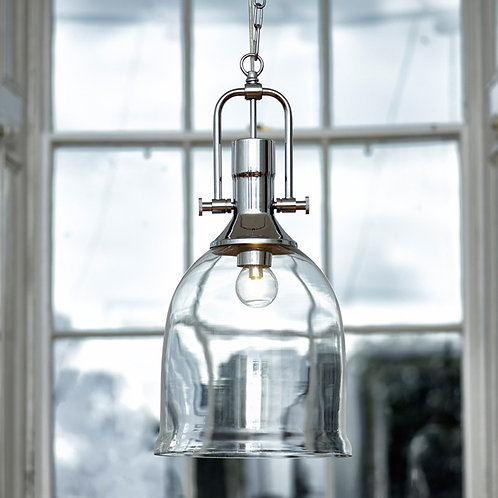 Glass Ceiling Pendant Light with Polished Chrome