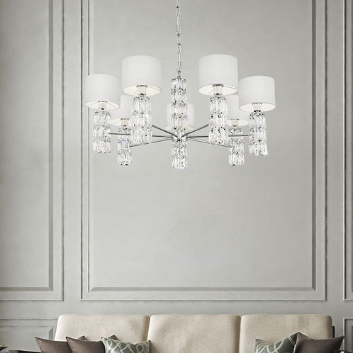 7-Light Chrome and Glass Chandelier