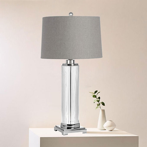 Silver and Glass Modern Table Lamp