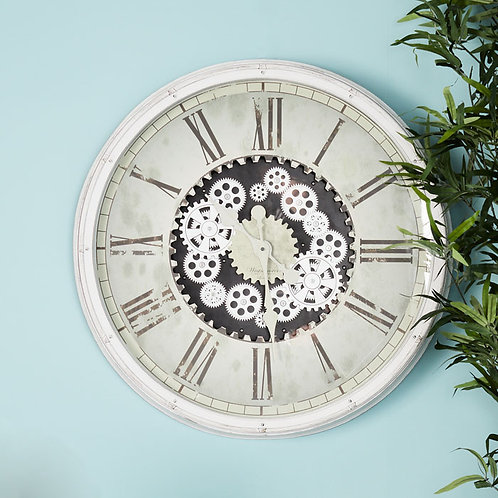 Large White Roman Numeral Gear Wall Clock