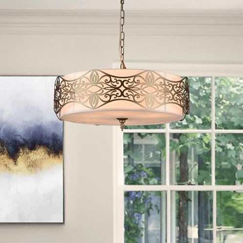 Fabric Shaded Pendant with Decorative Decor