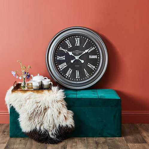 Oversized Rustic Grey Wall Clock