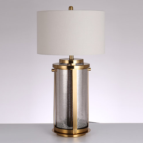 Frosted Glass and Brass Table Lamp