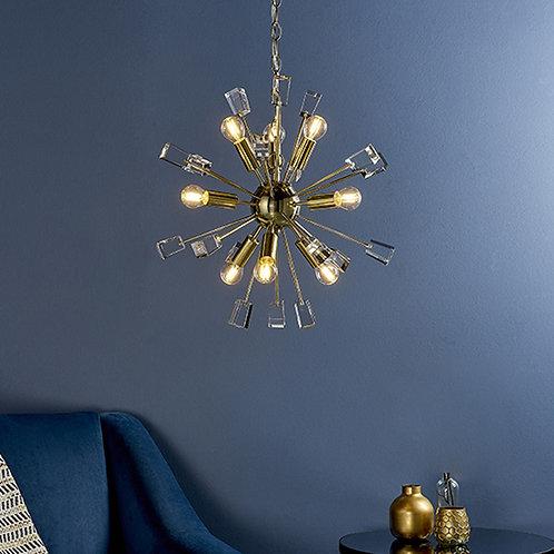Designer 9-Light Brass Pendant Light with Crystal Cubes
