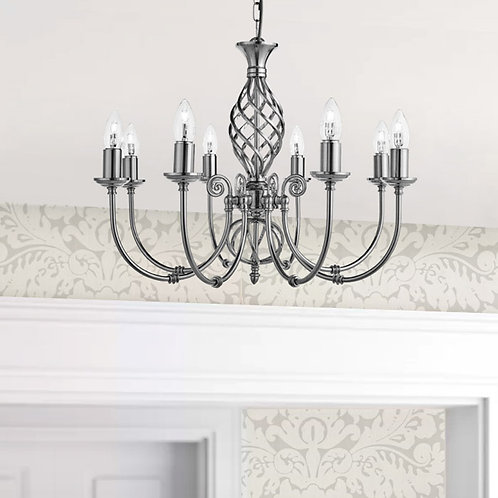 Satin Silver 8-Light Twisted Column Pendant