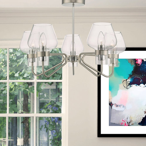 5 Light Satin Chrome and Glass Semi Flush Pendant