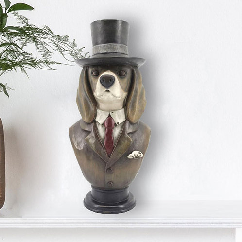 Charming Dog Head with Top Hat Ornament