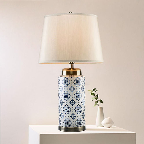 Navy Patterned Ceramic Table Lamp