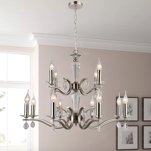 12 Light Satin Chrome Pendant