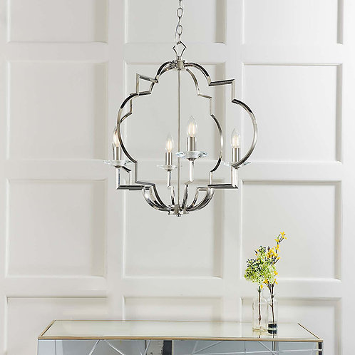 Polished Nickel and Crystal 4-Light Ceiling Fitting
