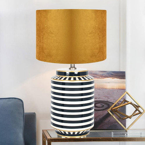 Luxury Monochrome Table Lamp with Gold Detailing