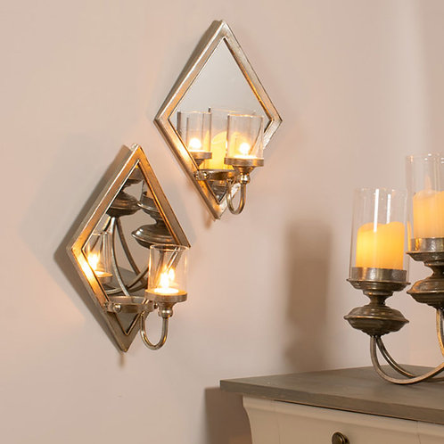 2 Antique Silver Diamond Candle Wall Sconces