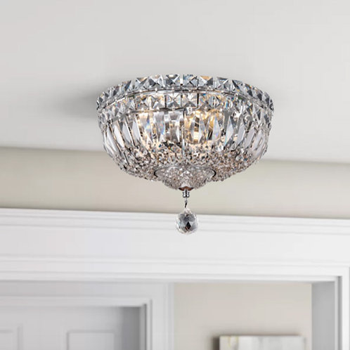 Semi-Flush Crystal Ceiling Light