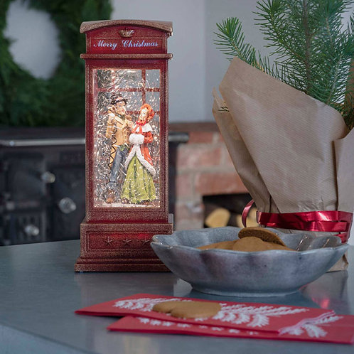 Red Telephone Box Water Lantern with Charles Dickens Theme