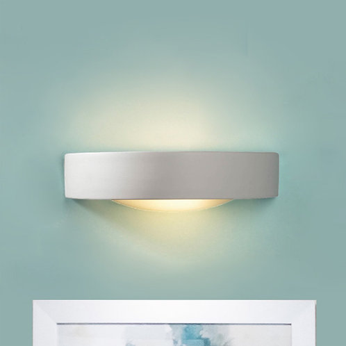 Curved Ceramic Wall Light with Frosted Glass