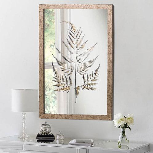 Metallic Brass Mirror with Fern Artwork