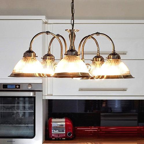 5-Light Antique Brass Pendant Light