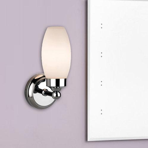 Polished Chrome Bathroom Wall Light with Opal Glass Shade