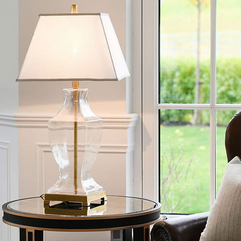 Luxury Glass with Gold Table Lamp