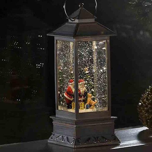 White Santa Scene LED Water Lantern