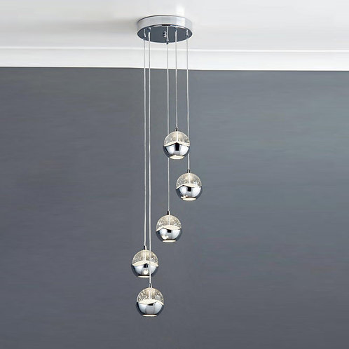Ice Effect 5 Light Led Chrome Ceiling Pendant