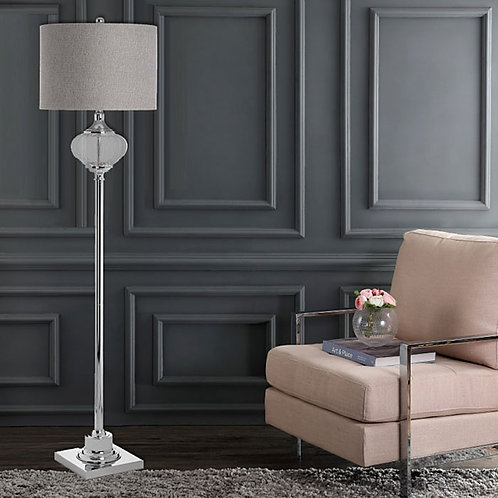 Tall Glass and Sliver Effect Floor Lamp