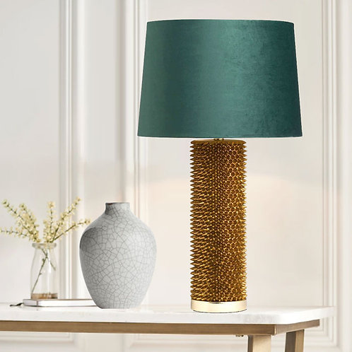 Antique Gold Spiky Table Lamp with Velvet Green Shade