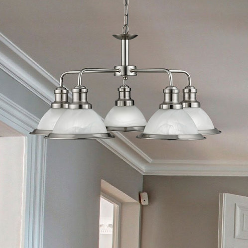 5 Light Pendant with Marble Effect Shades