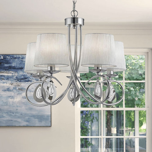Chrome 5 Light Pendant with Pleated Shades