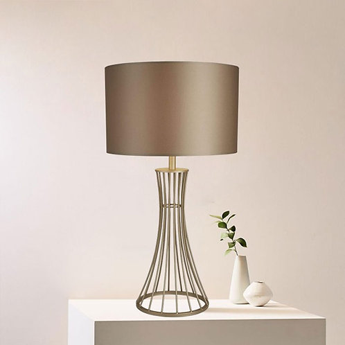 Chrome Cage Table Lamp with Champagne Shade