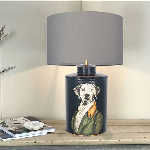 Quirky Hand Painted Black Dog Table Lamp