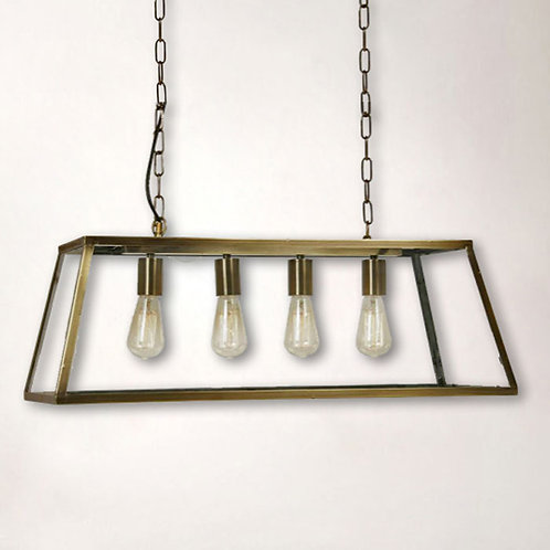 4-Light Box Pendant with Antique Brass Finish